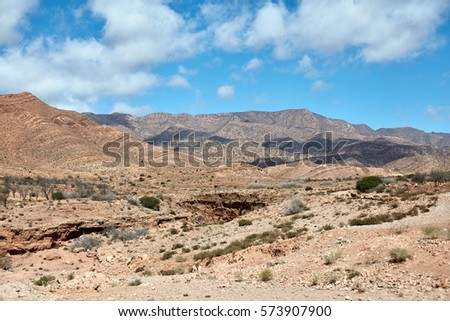 Desert landscape,  Atlas Mountains, Morocco #573907900