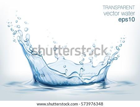 Transparent vector water splash and wave on light background #573976348