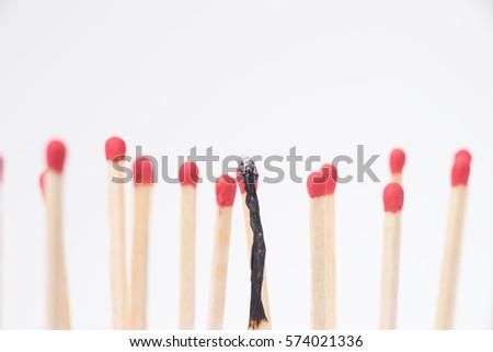 Burnt match between new matchsticks, shallow depth of field #574021336