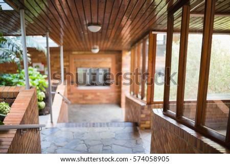 View of empty corridor at school #574058905