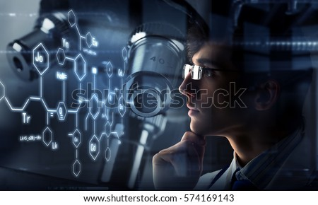 Innovative technologies in science and medicine. Mixed media . Mixed media Royalty-Free Stock Photo #574169143