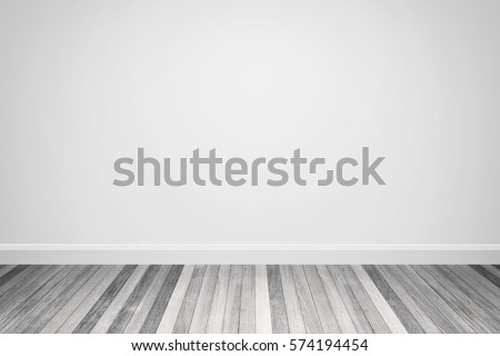 White tone colors wall & wood floor interior,3D illustration #574194454