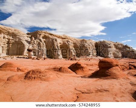 Paria rimrocks sandstone landscape with Toadstool Hoodoos, Utah, United States #574248955