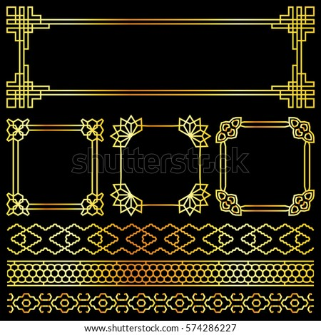 Golden vector asian, korean, chinese, japanese retro frames. Illuustration of golden decor #574286227