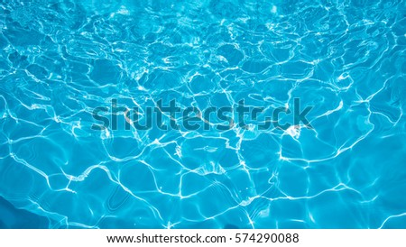 Blue and bright ripple water and surface in swimming pool , Beautiful motion gentle wave in pool #574290088