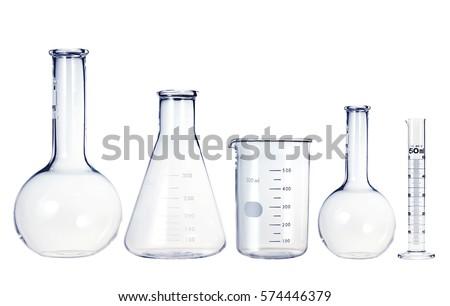 Test-tubes isolated on white. Laboratory glassware Royalty-Free Stock Photo #574446379