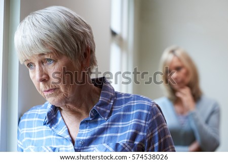 Serious Senior Woman With Adult Daughter At Home #574538026