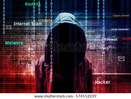 Computer hacker or Cyber attack concept background Royalty-Free Stock Photo #574552039