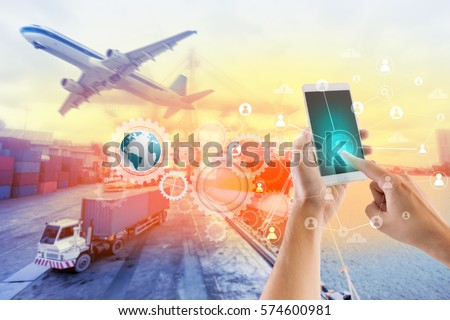 Social connection and networking for Logistic Import Export background. Royalty-Free Stock Photo #574600981