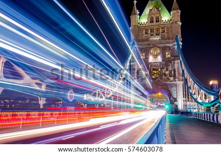 Light trails along Tower Bridge in London