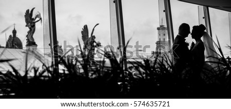 Look over bushes at silhouettes of wedding couple hugging before panoramic window #574635721