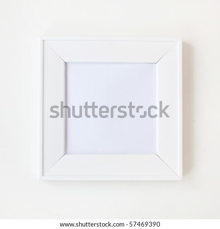 Square simple blank white photo frame on wall