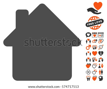 House icon with bonus love images. Vector illustration style is flat iconic symbols for web design, app user interfaces.