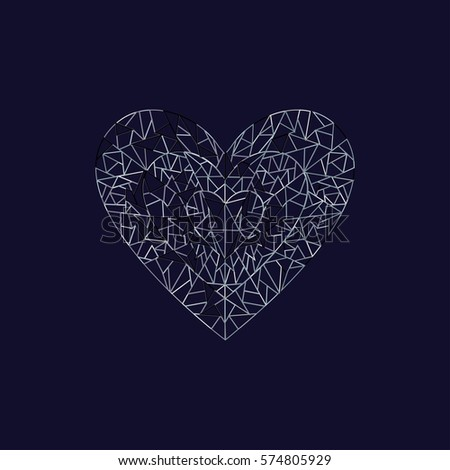 Grey abstract heart vector outline icon valentine's day illustration #574805929