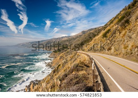 Highway 1 on the pacific coast, California. Royalty-Free Stock Photo #574821853