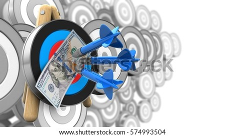 3d illustration of target stand with three darts and 100 dollars over many targets background #574993504