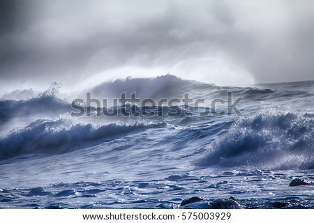 turbulent waves of Pacific ocean. Dead swell Royalty-Free Stock Photo #575003929