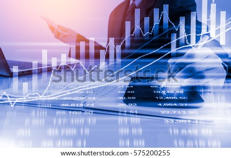 Double exposure businessman and stock market or forex graph suitable for financial investment concept. Economy trends background for business idea and all art work design. Abstract finance background. #575200255