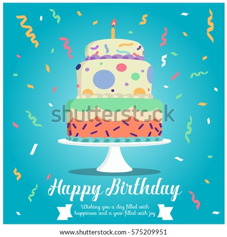Happy birthday - cake and ribbon party on blue background vector design