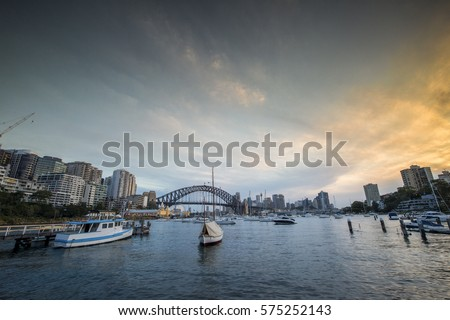 View of Sydney CBD from Lavender bay. Royalty-Free Stock Photo #575252143