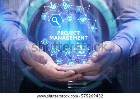 Business, Technology, Internet and network concept. Young businessman shows the word on the virtual display of the future: Project management Royalty-Free Stock Photo #575269432