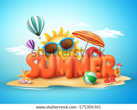 Summer vector banner design concept of 3d text in beach island with summer elements and balloons in blue sky background. Vector illustration. Royalty-Free Stock Photo #575306365
