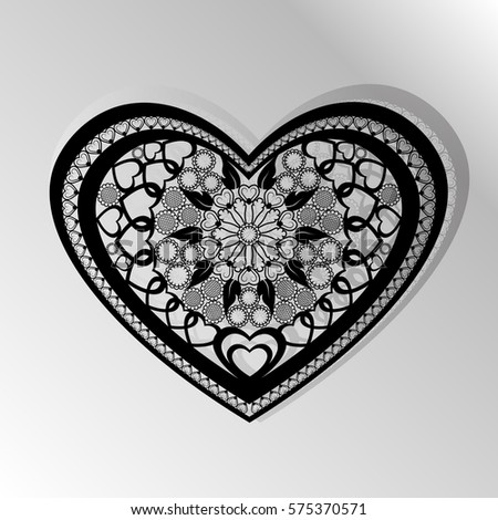 Cutting card. Laser cut  heart vector panel. Cutout silhouette with heart pattern. Filigree star pattern for paper cutting. black #575370571