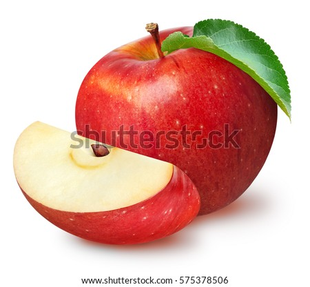 Isolated apples. Whole red apple fruit with slice (cut) isolated on white with clipping path