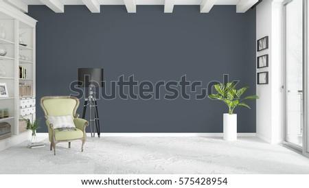 Modern bright interior . 3D rendering #575428954