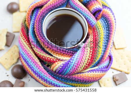 hot coffee scarf candy cookie white background #575431558