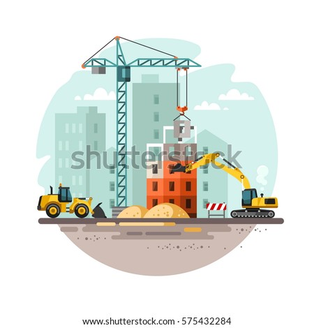 Construction site, building a house. Vector illustration. Royalty-Free Stock Photo #575432284