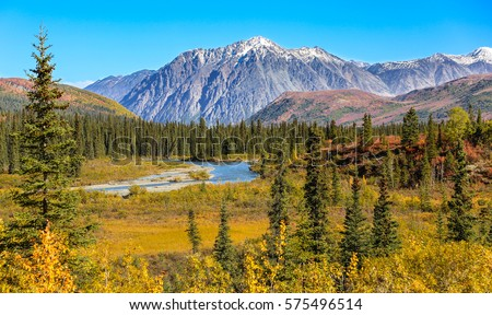 Scenic fall landscape with snow-capped mountains in Denali National Park, Alaska  Royalty-Free Stock Photo #575496514