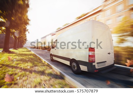 Deliveries truck in the city . 3D Rendering #575707879