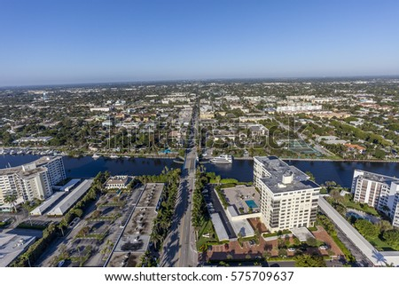 Aerial, Bird Eye of Delray Beach, Florida USA #575709637