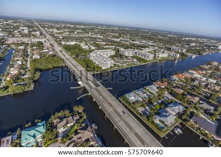 Aerial, Bird Eye of Delray Beach, Florida USA #575709640