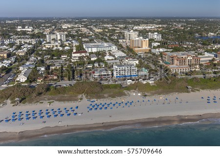 Aerial, Bird Eye of Delray Beach, Florida USA #575709646