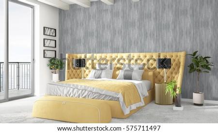 Modern bright interior . 3D rendering #575711497