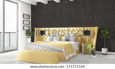 Modern bright interior . 3D rendering #575711524