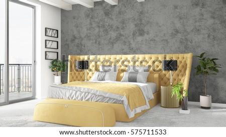 Modern bright interior . 3D rendering #575711533