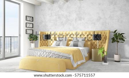 Modern bright interior . 3D rendering #575711557