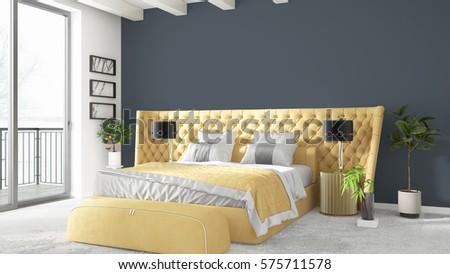 Modern bright interior . 3D rendering #575711578