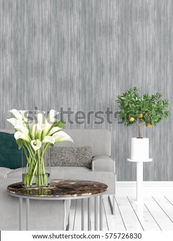 Modern bright interior . 3D rendering #575726830