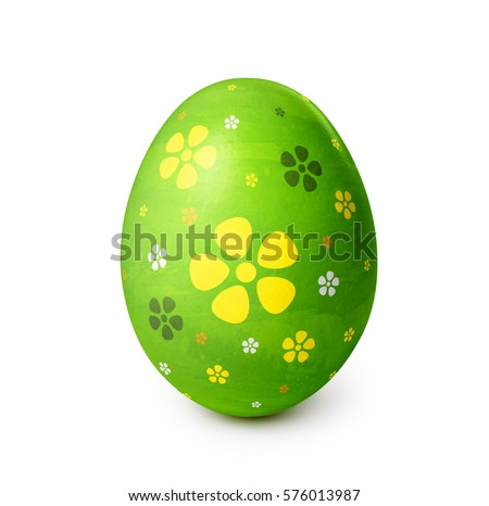Easter egg with flower pattern isolated on white background. Clipping path included #576013987