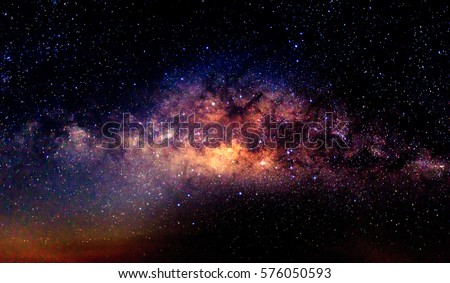 Milky way galaxy with star and space dust in the universe and deep night sky planet background. Royalty-Free Stock Photo #576050593