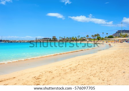 Famous beach of Amadores. Gran Canaria, Canary islands, Spain Royalty-Free Stock Photo #576097705