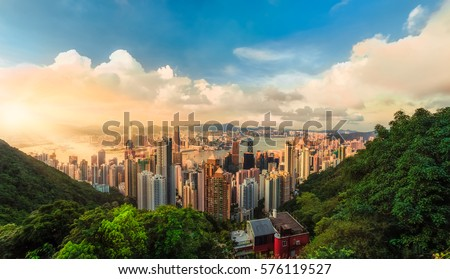 Beautiful sunset over the Victoria bay in Hong Kong, China