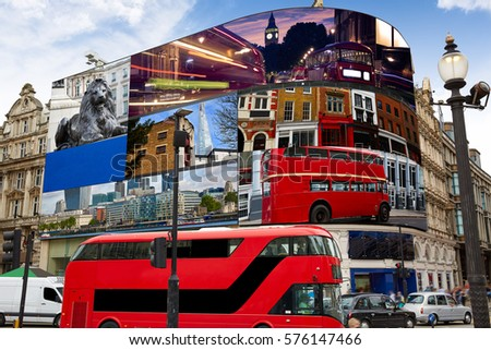 Piccadilly Circus London Images on screens are my own copyright digital photomount