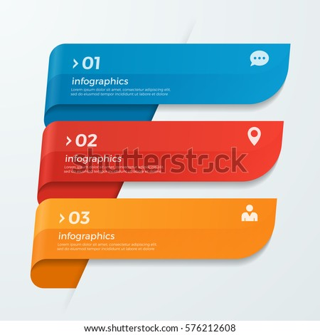 Infographic template with ribbons banners arrows 3 options for presentations, advertising, layouts, annual reports, web design. Royalty-Free Stock Photo #576212608