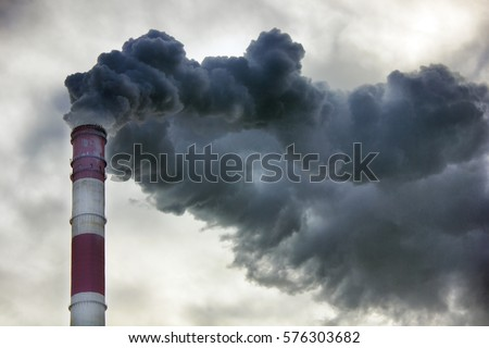 Air pollution, closeup of one big smoking pipe Royalty-Free Stock Photo #576303682