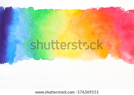 line watercolor texture in rainbow colors on white paper  Royalty-Free Stock Photo #576369151